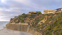 Pano Waterfront buildings on top of a rocky land at San Diego, California