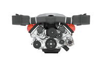Engine for car assembly front view 3D render on white background no shadow