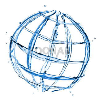abstract globe from water splashes isolated on white