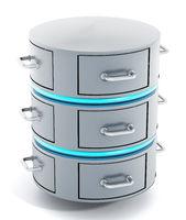 Data server with closed file racks. 3D illustration