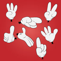 Cartoon hands on a red background