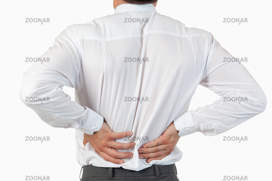 Painful back of a businessman