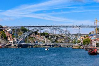 Dom Luis I Bridge, a double-deck bridge across the River Douro in Porto, Portugal