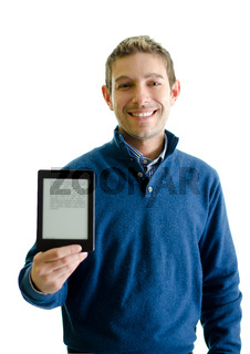 Handsome young man showing ebook reader