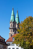 View on the towers of the city church in Meiningen