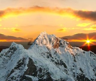Alpamayo peak on sunset