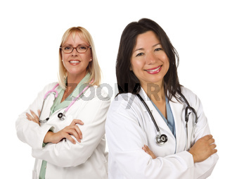 Two Female Doctors or Nurses on White