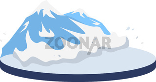 Avalanche in rural area cartoon vector illustration. Snow falling on mountainside. Snowslide, snow slip scene. Snowfall in mountains. Flat color natural disaster isolated on white background