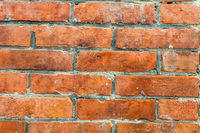 dirty red bricks wall