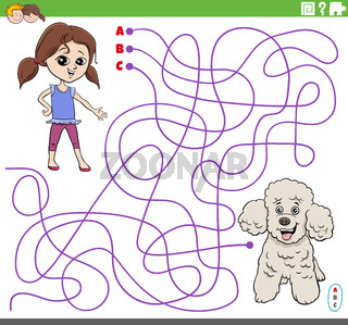 educational maze game with cartoon girl and poodle dog