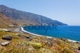 Ocean and coast  with small beach in El Hierro