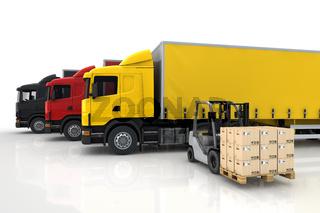 LKW und Gabelstapler mit Paketen