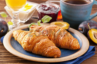 Breakfast with croissants and marmalade