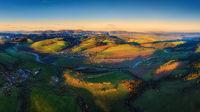 sunrise over the Poprad river valley in summer