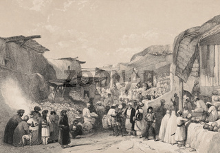 Afghans in a marketplace buying and selling fruit, Main street in the bazaar at Kabul, Afghanistan, First Anglo-Afghan War, sketch by James Atkinson, 1840