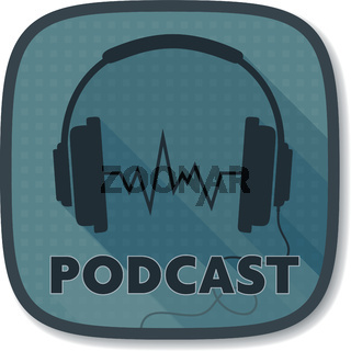podcast icon or logo with stereo headphone symbol