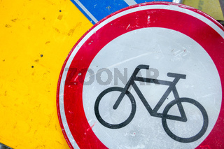 Traffic signs - bicycle, transport and street law concept.