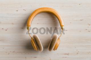 Wooden headphones 3D illustration
