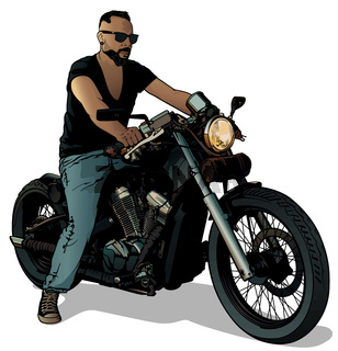 Motorcyclist on Motorcycle