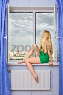 Beautiful Girl on Sill