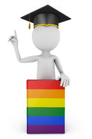 Student with a book lgbt
