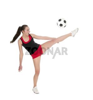 junge Frau mit Fussball