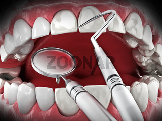 Professional dentist tools isolated on white background. 3D illustration