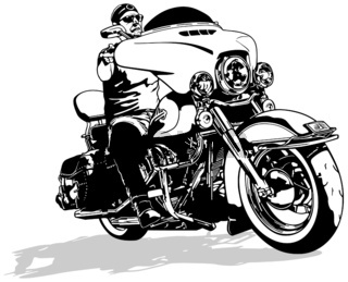 Motorcyclist on Motorcycle Drawing