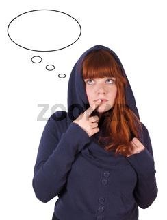 junge Frau mit Gedankenblase
