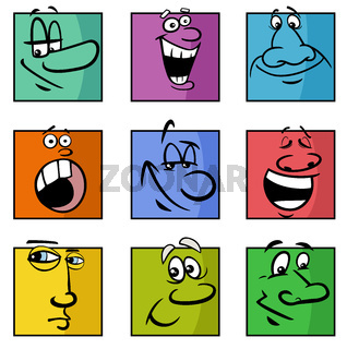 faces or emotions cartoon illustration set