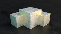 Marble geometric pedestal abstract background.