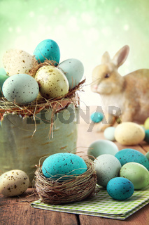 Easter scene with speckled eggs in bowl