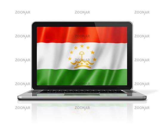 Tajikistan flag on laptop screen isolated on white. 3D illustration