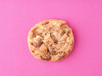 Sweet chocolate cookie on a pink background