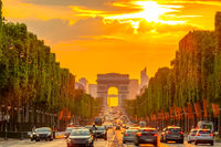 Champs Elysees and the Arc de Triomphe and Golden Sunset