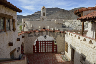 Courtyard at Scotty's Castle looking towards the clock tower,  Death Valley, California