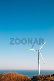 Yeongdeok Wind Farm and sea in Yeongdeok, Korea