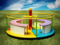 Multi-colored merry-go-round on the grass. 3D illustration