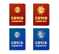 Blue and red realistic COVID passports on white