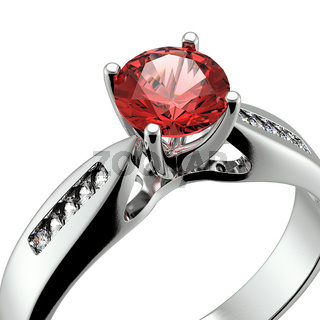Wedding ring with diamond on white background. Sign of love. Garnet