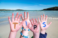 Children Hands Building Word Tips, Ocean Background
