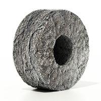 Stone wheel isolated on white background. 3D illustration