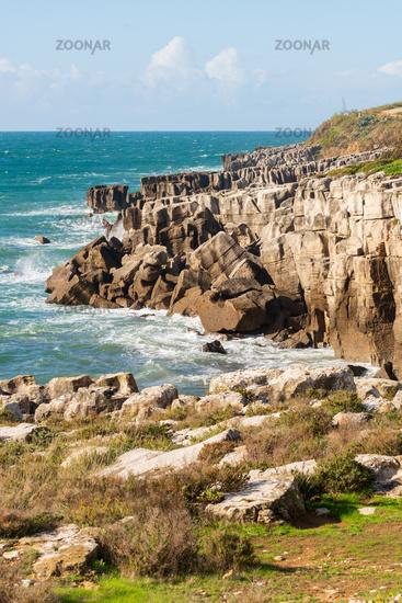 Peniche sea cliffs with atlantic ocean in Portugal