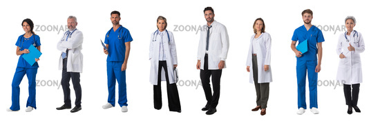 Medical workers isolated on white