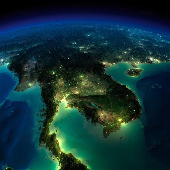 Night Earth. A piece of Asia - Indochina peninsula