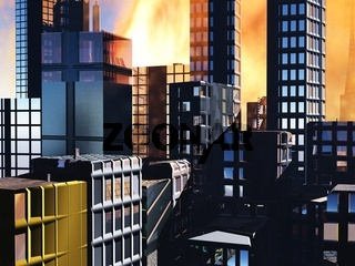 Armageddon  scene in city