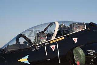 Closeup of the cockpit of BAe Hawk jet