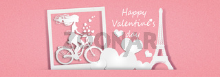 Beautiful girl with hearts on bicycle. 3d Illustration