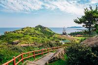 Panoramic view of Yongmeori Beach, Jeju Olle Trail in Jeju Island, Korea
