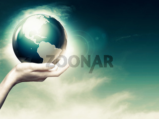 Whole world in your hands, abstract environmental backgrounds